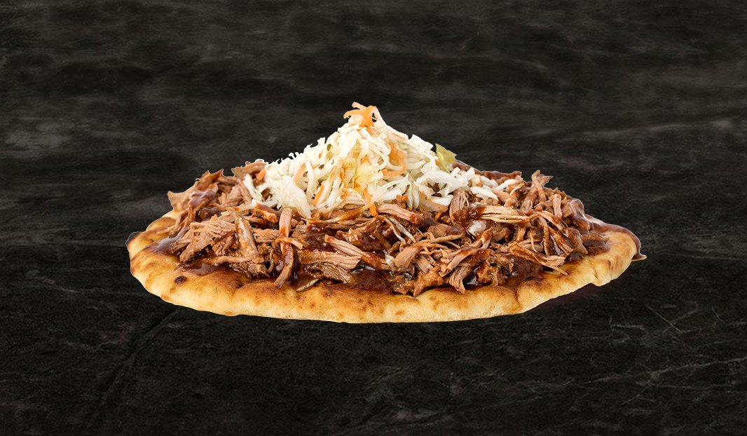 Pulled Pork on Naan with Roasted Onions