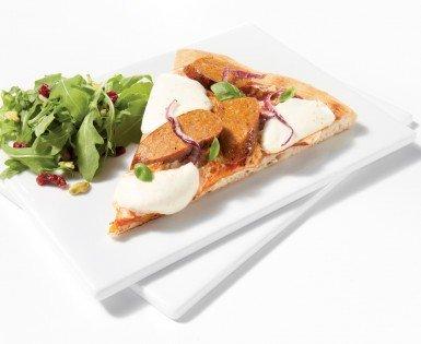 Pizzas fines à la saucisse Italienne et au Boursin