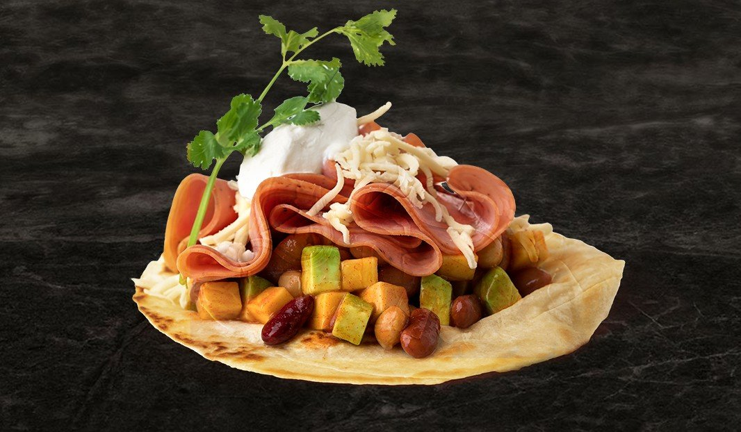 Pork Smoked Meat and Bean Salad Tacos