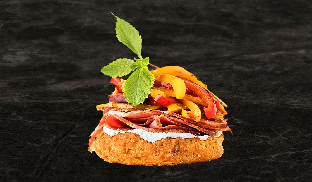 Ham, Goat Cheese and Pickled Peppers