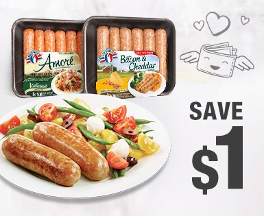 Save 1 $ on a package of European or Italian sausages (375 g and 450 g)