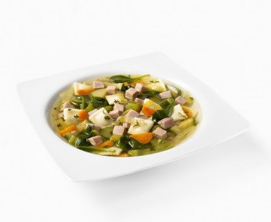 Soup lunch minis-ravioli, vegetables and diced ham