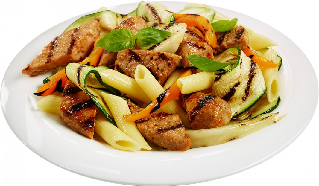 Penne with Italian Sausages and Grilled Vegetables
