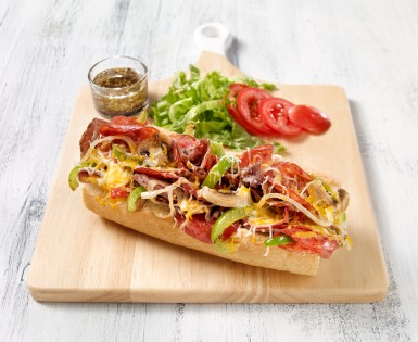 Submarine sandwiches with steak and Amoré pepperoni
