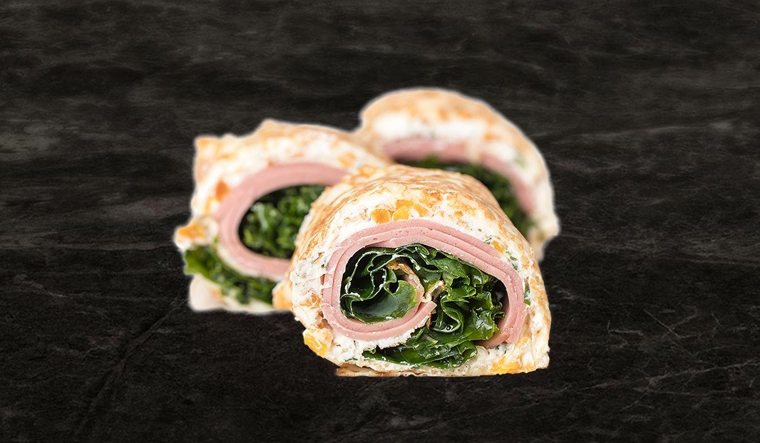 Rolled Crepes with Bologna and Apricot Mint Cream