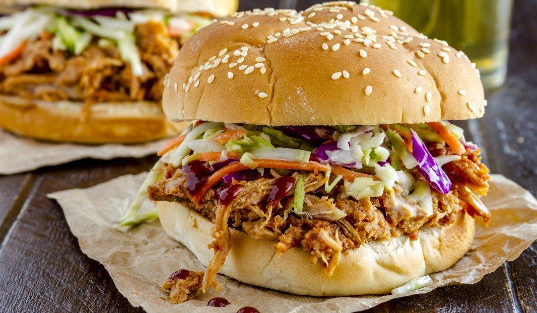 Southwestern-style pulled pork sandwich