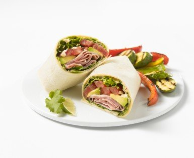 Tex-Mex wrap cooked ham with chipotle mayonnaise
