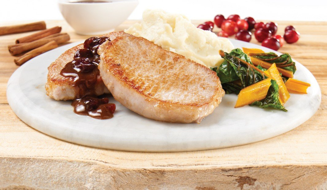 Spiced pork loin medallions with cranberries