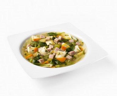Soupe-repas aux minis-raviolis, légumes et jambon