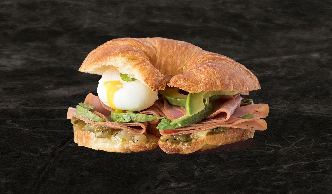 Pork Smoked Meat and Avocado on Croissant