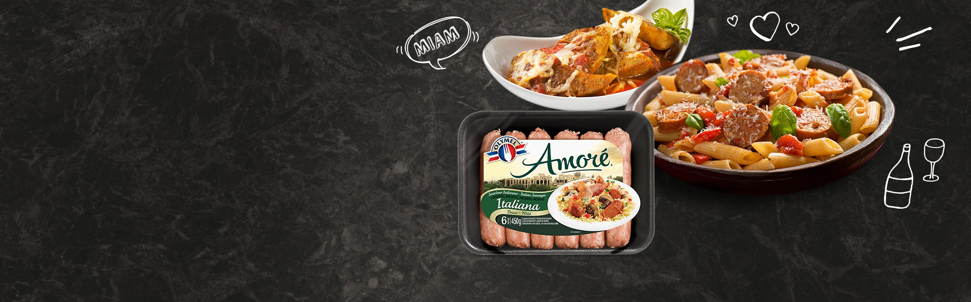 Mild Italian Amoré sausages