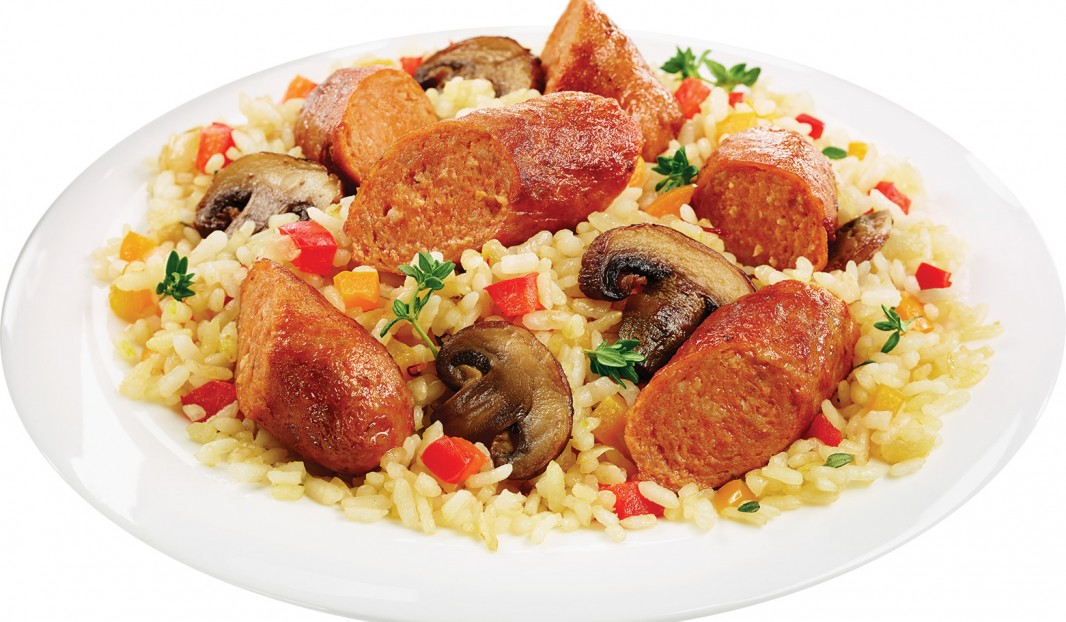 orzo with spicy italian sausages and mushrooms olymel. Black Bedroom Furniture Sets. Home Design Ideas