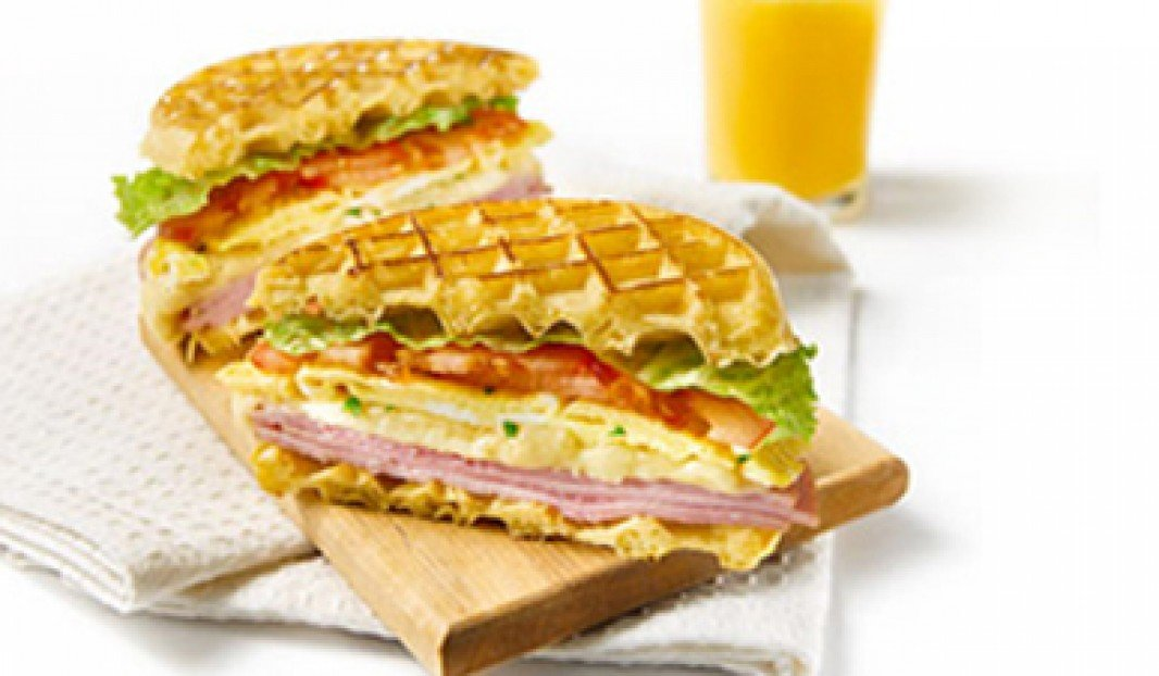 Ham waffle sandwich