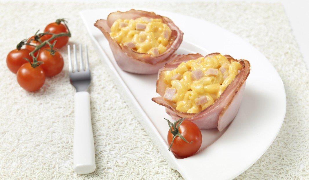 Mac and cheese in Olymel ham shells