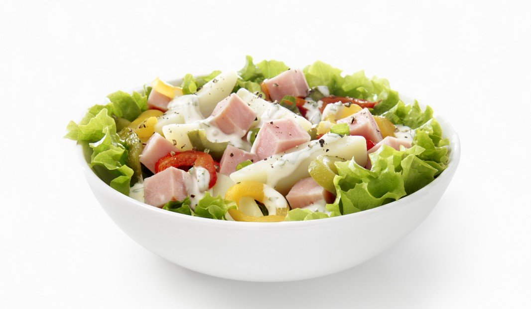 Ham salad and potatoes roasted pepper