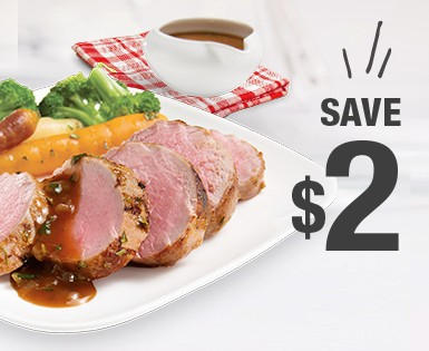 Save $2 on a package of  Olymel Fresh pork eye round (750 g)