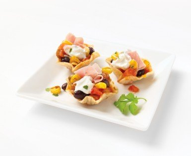 Small mexican style croustades with old fashioned smoked ham