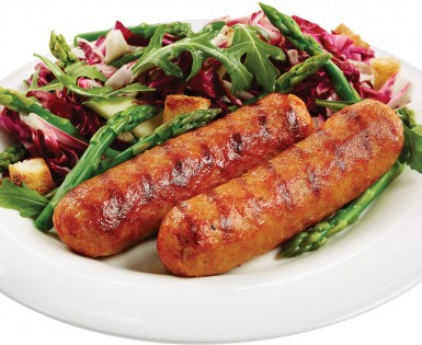 Spicy Italian sausages with mediterranean asparagus salad