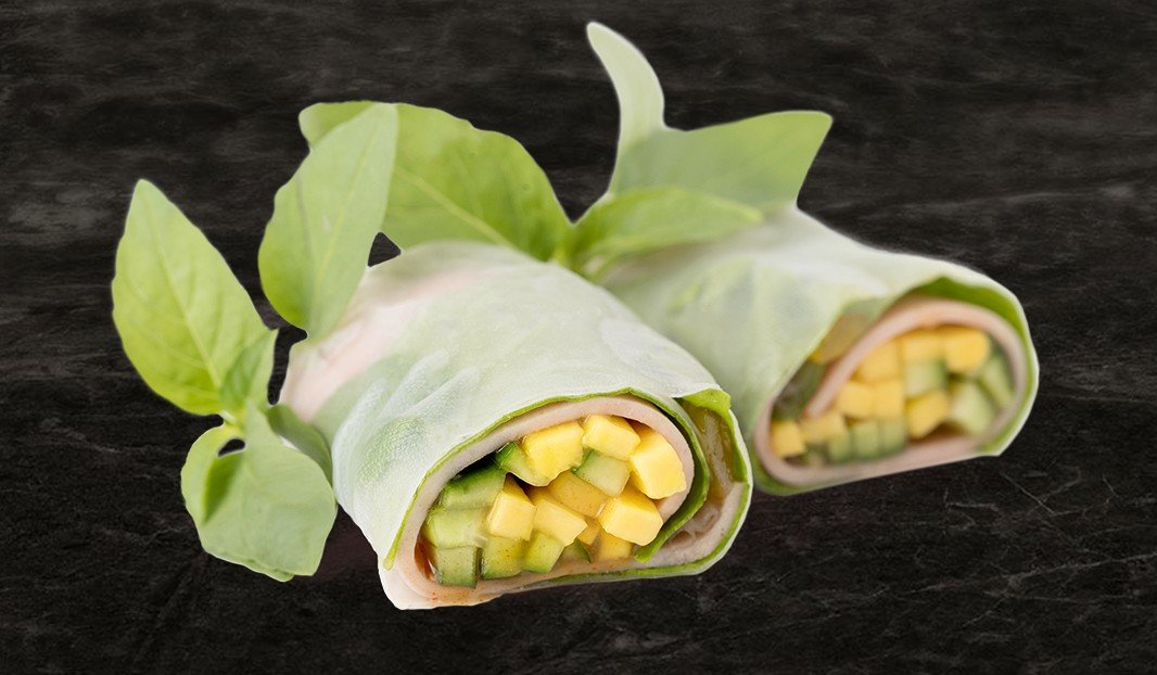 Mock Chicken Mango Summer Rolls