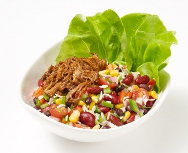 Pulled pork mexican salad