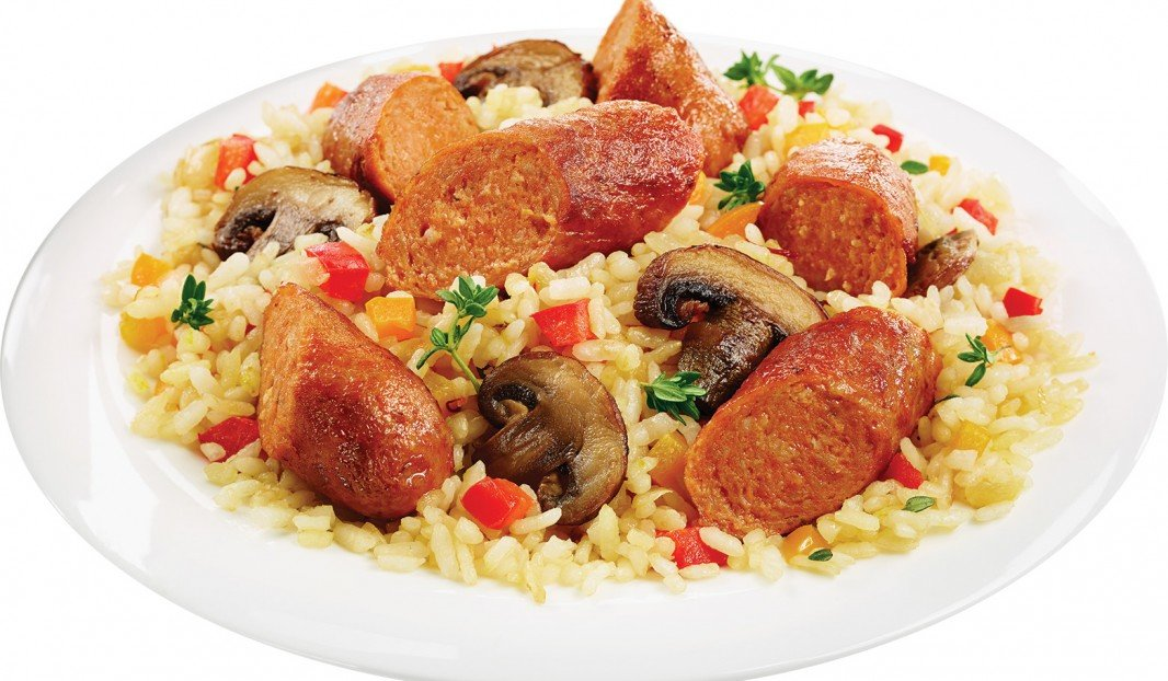 Orzo à la saucisse Italienne épicée et aux champignons