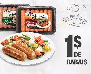 1 $ de rabais à l'achat d'un emballage de saucisses Italiennes Amoré