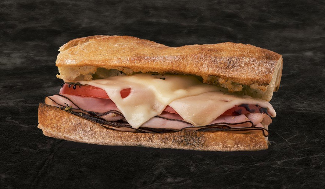 Open-face ham and tomato melt