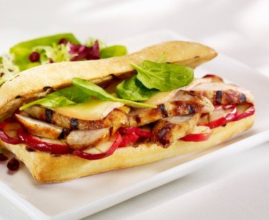 Grilled ciabatta with Toulouse sausages, caramelised apple and Oka cheese