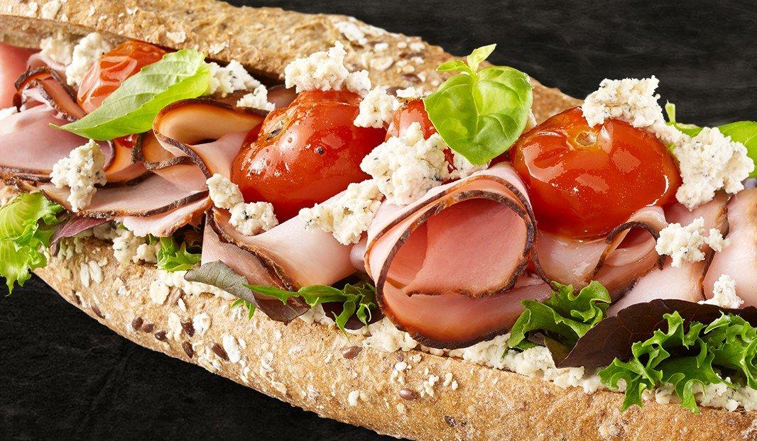 Ham, Pepper Boursin and Tomato Confit on Baguette