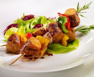 Skewers of grilled Italian sausage and peppers
