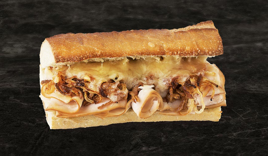 Smoked Chicken and Onion Confit Melt on Baguette