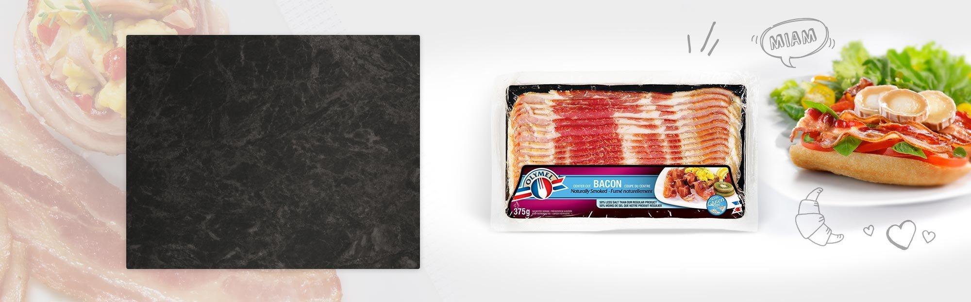 Bacon fumé naturellement 33% moins de sel