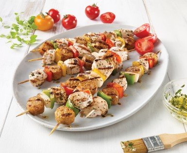 Turkey breast and mild Italian sausage brochettes