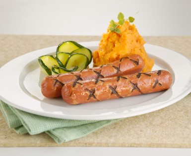 Grilled sausage and sweet potatoes with ginger