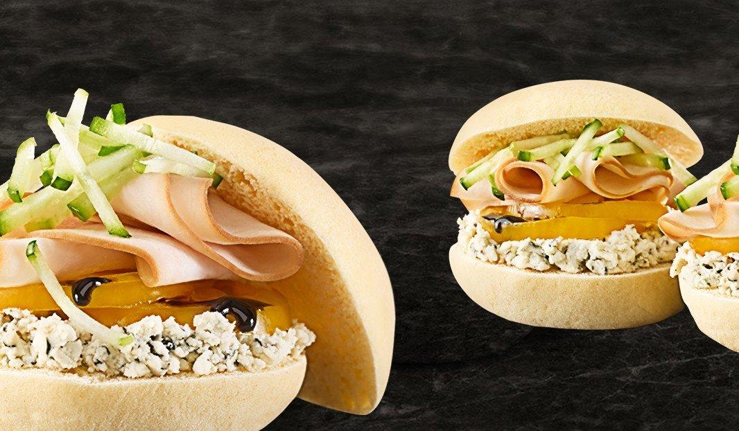 Sandwich au poulet, Boursin bouquet de basilic