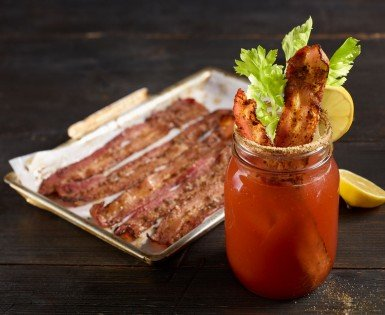 Bacon with Bloody Caesar seasoning