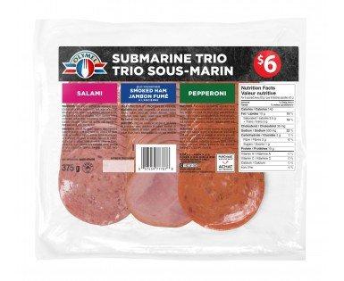 Trio sous-marin de viandes tranchées, Salami, Pepperoni, Jambon fumé