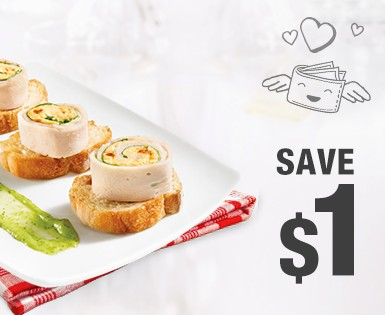Save 1$ on the purchase of a pack of Olymel deli meats, Smart & Natural shaved meats or nitrite-free deli meats
