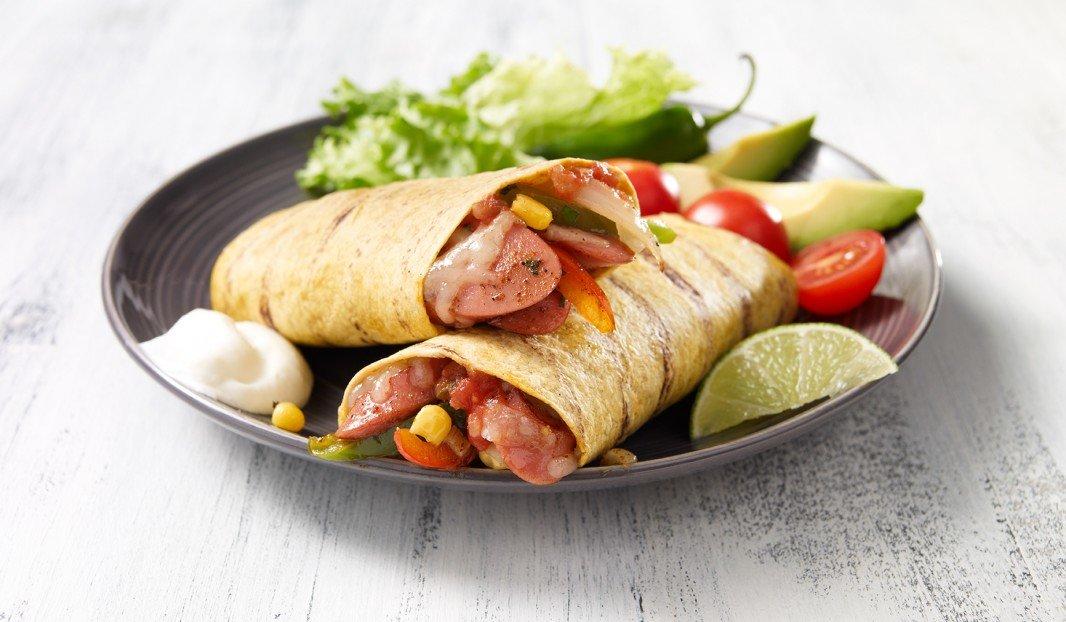 Tortilla grillée à la saucisse fumée façon «Mexicano»