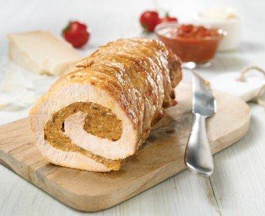 Longe de porc farcie à la saucisse Italienne, sauce marinara