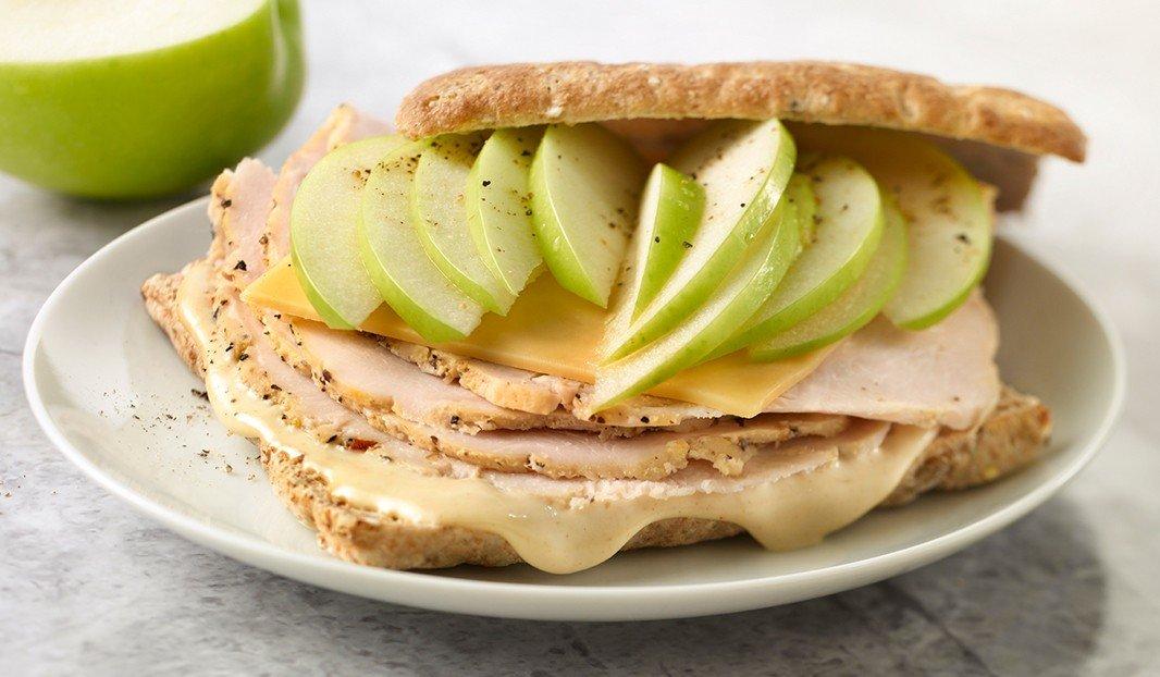 Sandwich dinde, pomme et Gouda