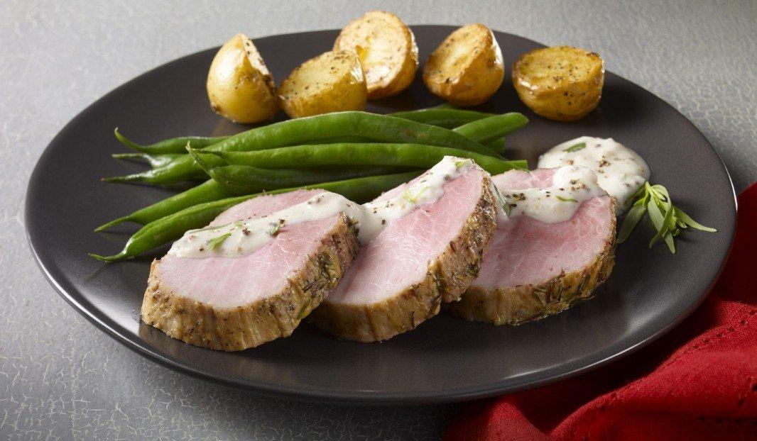 Roast pork eye of round with mustard and tarragon