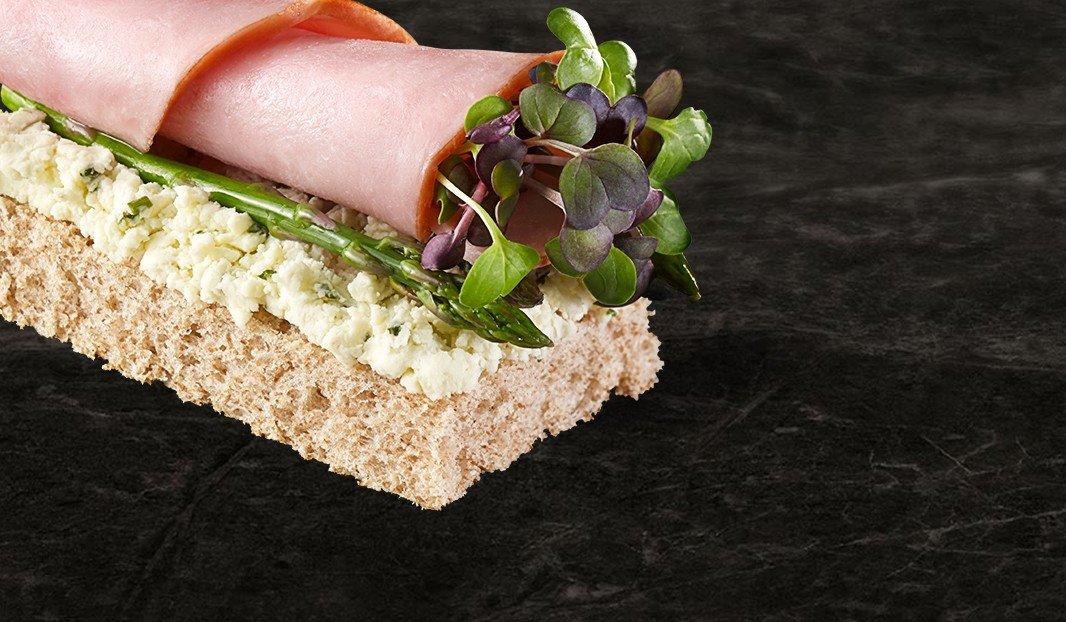 Ham, Asparagus and Shallot & Chive Boursin on Tramezzini