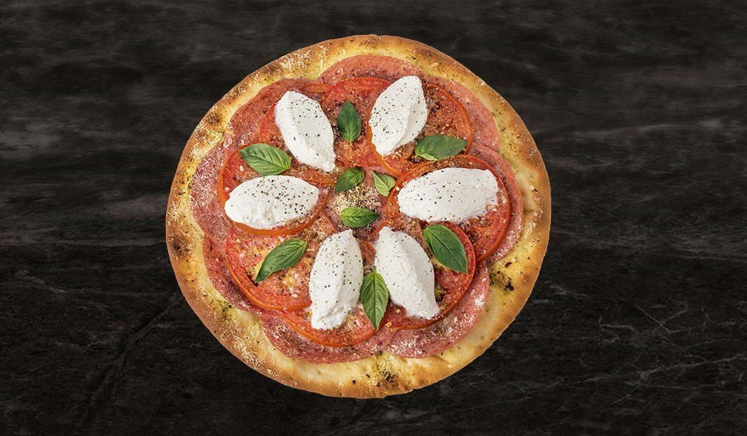 Pepperoni and tomato pizza