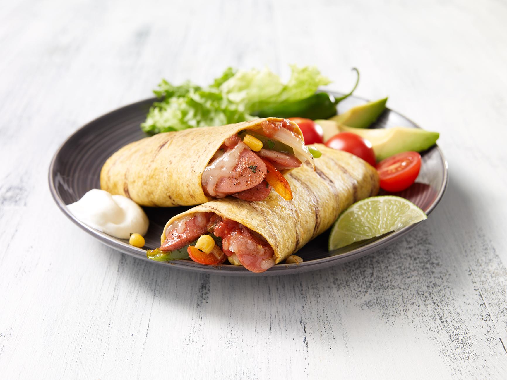 Tortilla grill e la saucisse fum e fa on mexicano for 1 cuillere a table en ml