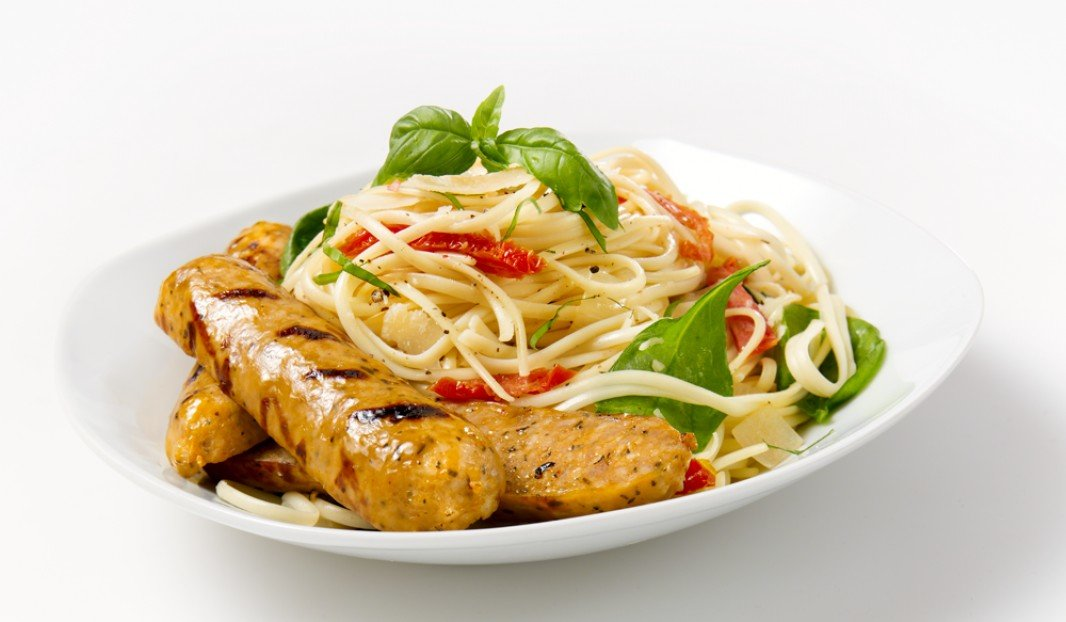 Grilled Mild Toulouse Sausage with Linguine
