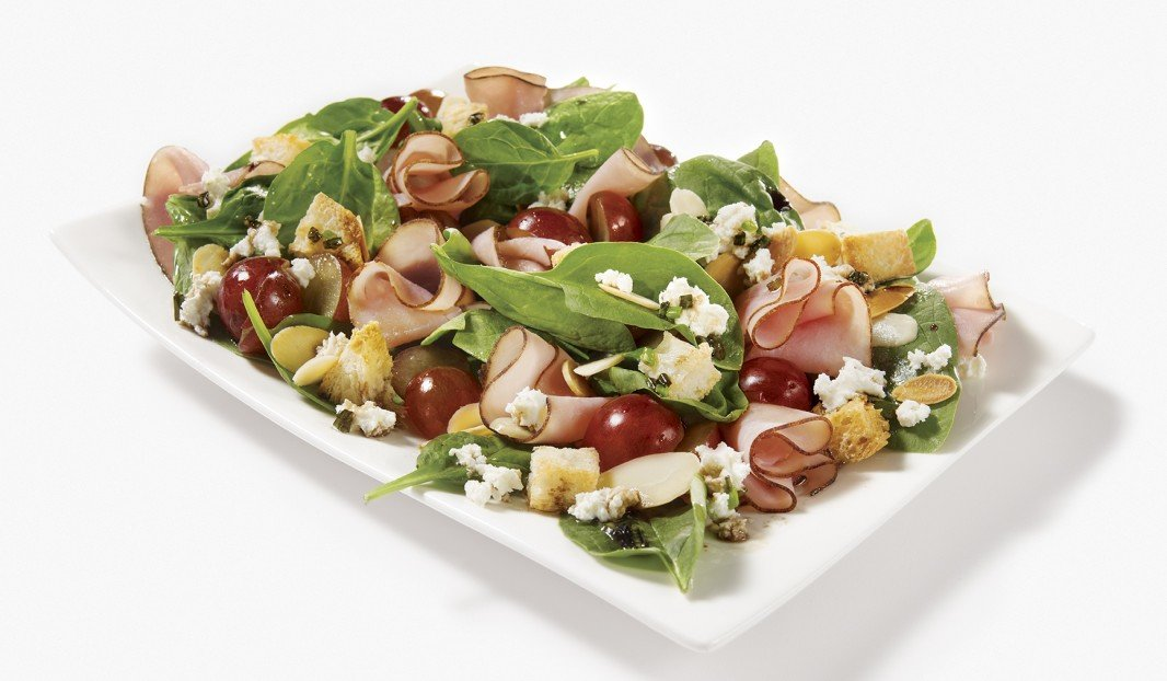Spinach,Black Forest Ham, Red Grapes and Goat Cheese Salad