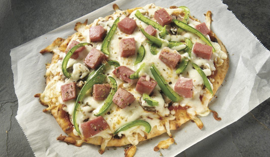 All-dressed bologna flatbread pizza
