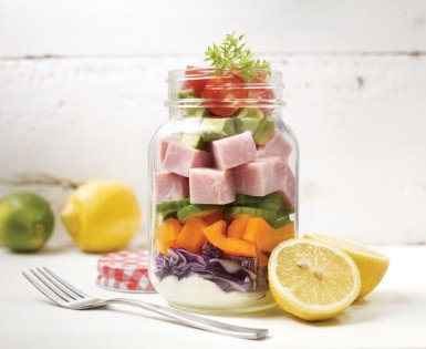 Salad in a jar with vegetables and Olymel ham