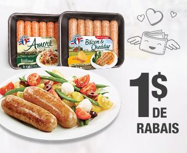 1$ de rabais à l'achat d'un emballage de saucisses européennes Olymel ou Olymel Italiennes Amoré (375 g et 450 g)